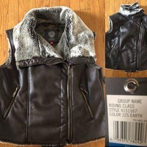 NWT Vince Camuto faux fur shearling zip vest XL